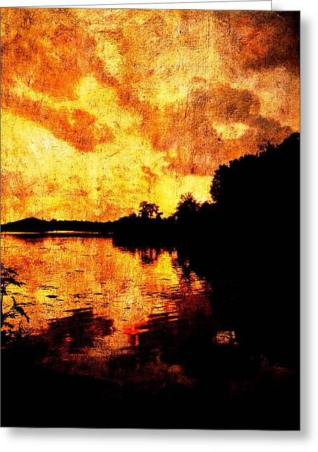 Florida Greeting Cards - Fiery Sunset Greeting Card by Randi Kuhne