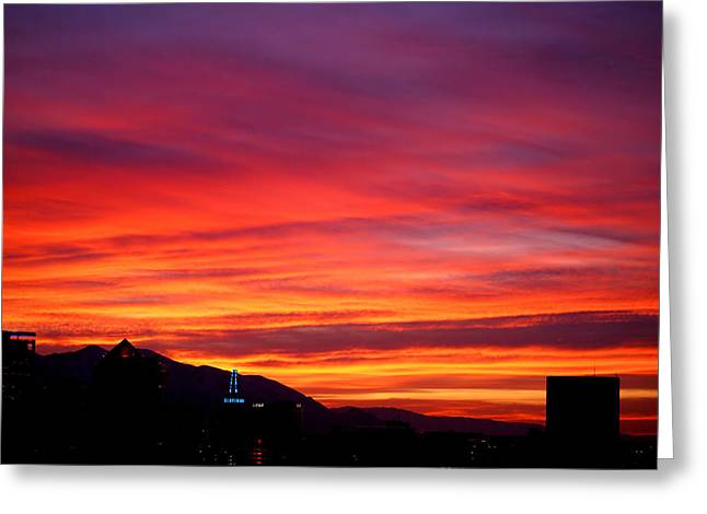 Salt Lake City Greeting Cards - Fiery Sunset Greeting Card by Rona Black