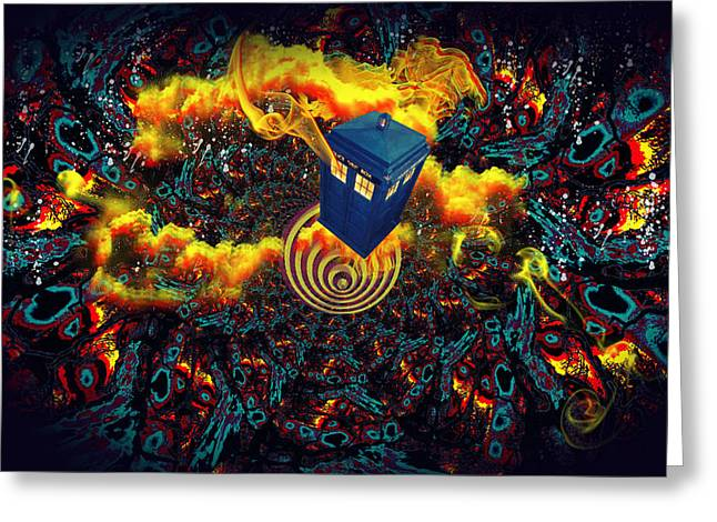 Doctor Who Greeting Cards - Fiery Time Vortex Greeting Card by Digital Art Cafe