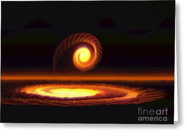 Geometry In Orange Greeting Cards - Fiery Yellow Orange Spiral Greeting Card by Amanda Collins