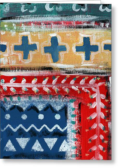 Fiesta 3- Colorful Pattern Painting Greeting Card by Linda Woods