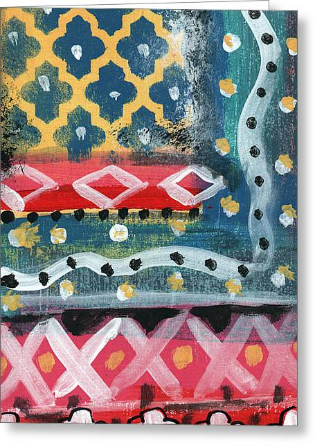Fiesta 4- Colorful Pattern Painting Greeting Card by Linda Woods