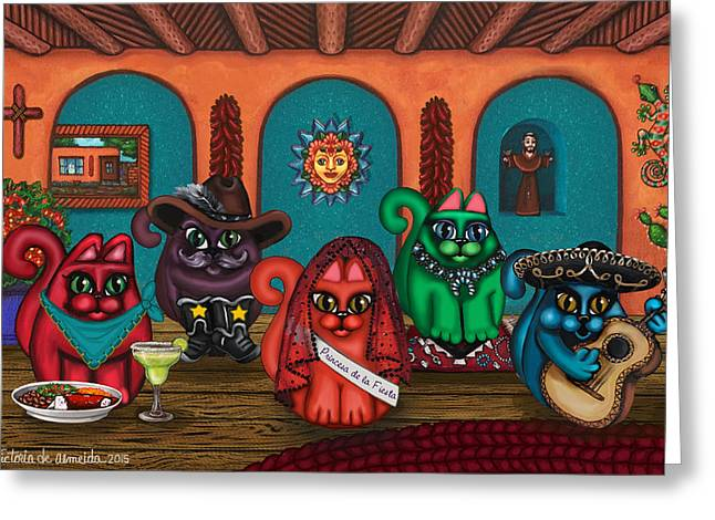 Mexican Fiesta Greeting Cards - Fiesta Cats II Greeting Card by Victoria De Almeida