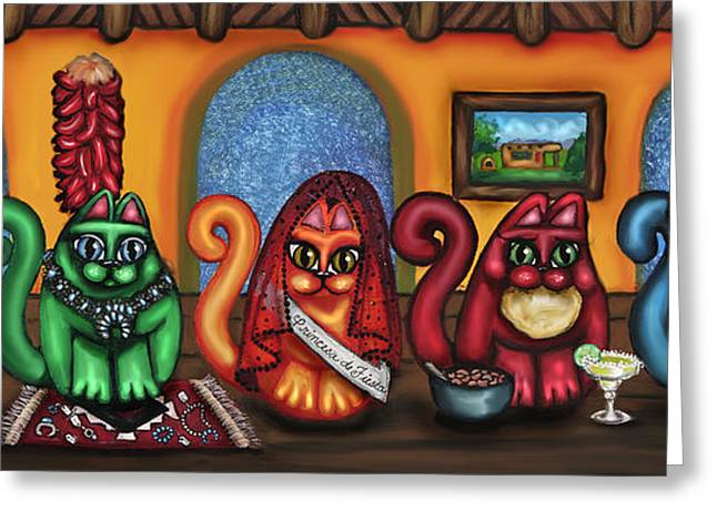 Santa Fe Greeting Cards - Fiesta Cats or Gatos de Santa Fe Greeting Card by Victoria De Almeida