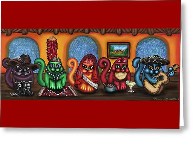 Hispanic Artists Greeting Cards - Fiesta Cats or Gatos de Santa Fe Greeting Card by Victoria De Almeida