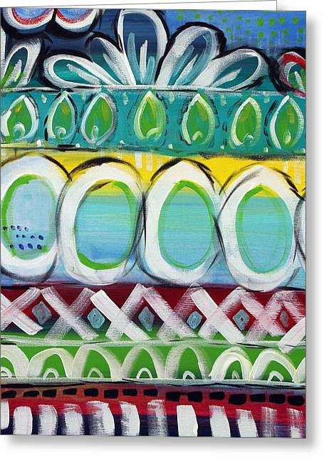 Bold Greeting Cards - Fiesta - Colorful Painting Greeting Card by Linda Woods