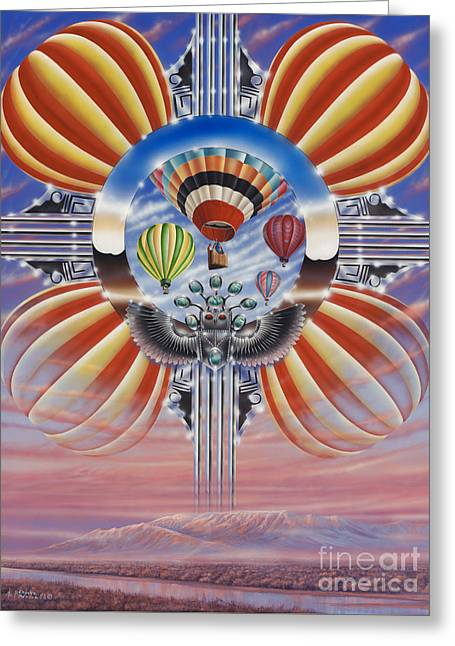 Balloon Fiesta Greeting Cards - Fiesta De Colores Greeting Card by Ricardo Chavez-Mendez