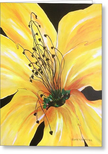 Day Lilly Paintings Greeting Cards - Fiesta del Sol Greeting Card by Barbara Remensnyder