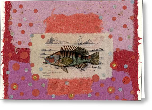 Torn Greeting Cards - Fiesta Fish Collage Greeting Card by Carol Leigh