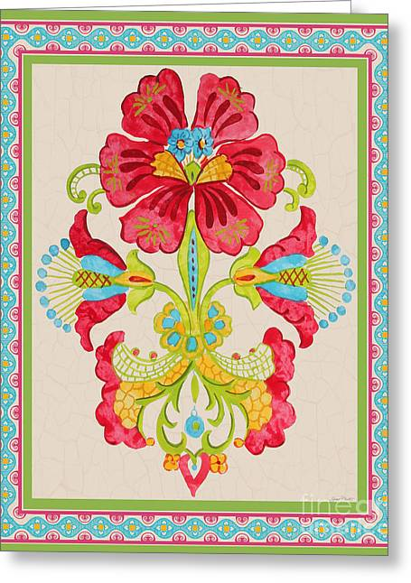 Boarder Greeting Cards - Fiesta Floral Tapestry-C Greeting Card by Jean Plout