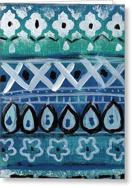 Bold Color Greeting Cards - Fiesta in Blue- colorful pattern painting Greeting Card by Linda Woods