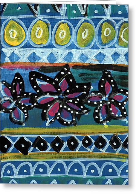 Pattern Greeting Cards - Fiesta in Blues- abstract pattern painting Greeting Card by Linda Woods