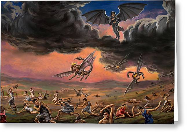 Will Power Greeting Cards - Abaddon Apollyon The Destoyer Original  Tempera Painting from Ruslan Vigovsky Greeting Card by Ruslan Vigovsky