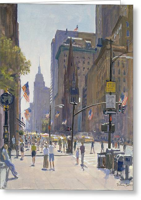 Street Scenes Photographs Greeting Cards - Fifth Avenue, 1997 Oil On Canvas Greeting Card by Julian Barrow