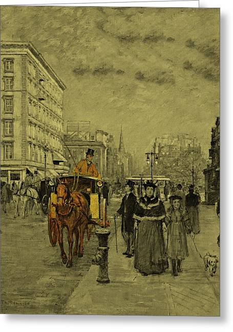 Lake House Drawings Greeting Cards - Fifth Avenue at Madison Square by Theodore Robinson 1894 Greeting Card by Movie Poster Prints