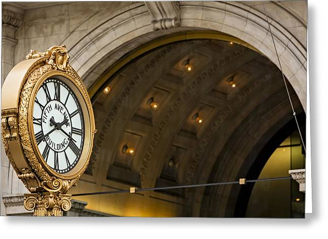United States Of America Greeting Cards - Fifth Avenue Building Clock Greeting Card by Susan Candelario