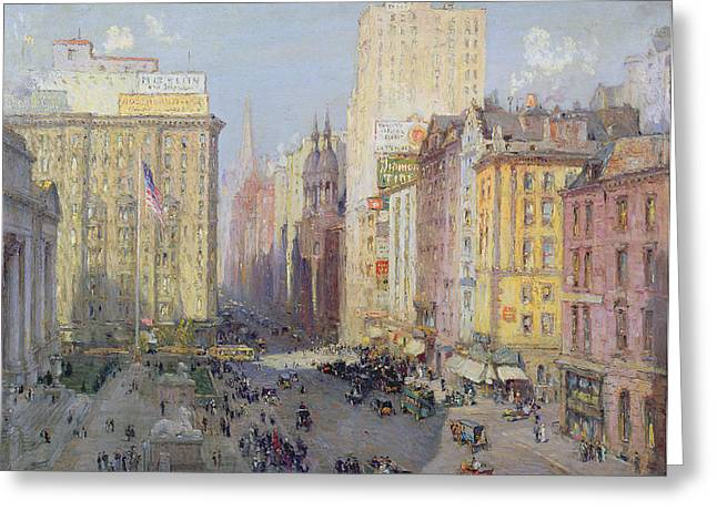 Library Greeting Cards - Fifth Avenue, New York, 1913 Oil On Canvas Greeting Card by Colin Campbell Cooper