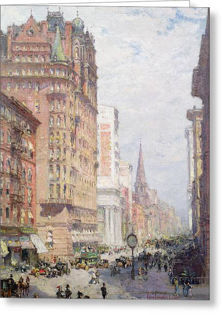 New York City Paintings Greeting Cards - Fifth Avenue New York City 1906 Greeting Card by Colin Campbell Cooper