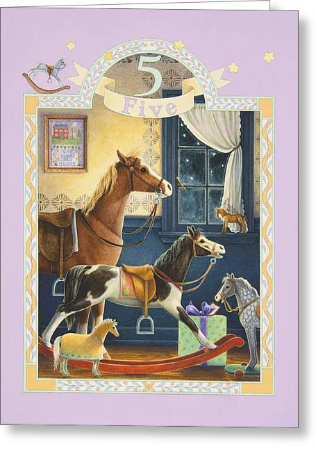 Birthday Present Greeting Cards - Fifth Birthday Greeting Card by Lynn Bywaters