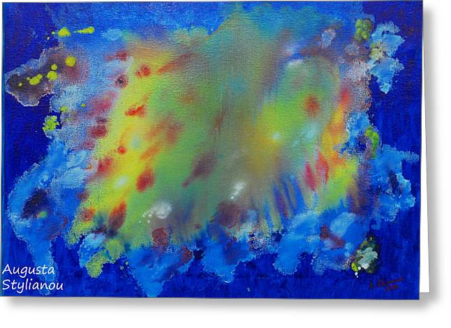 Nebula Paintings Greeting Cards - Fifth Creation Greeting Card by Augusta Stylianou