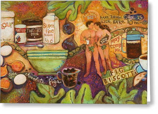 Painted Recipes Greeting Cards - Fig Biscotti Recipe Greeting Card by Jen Norton