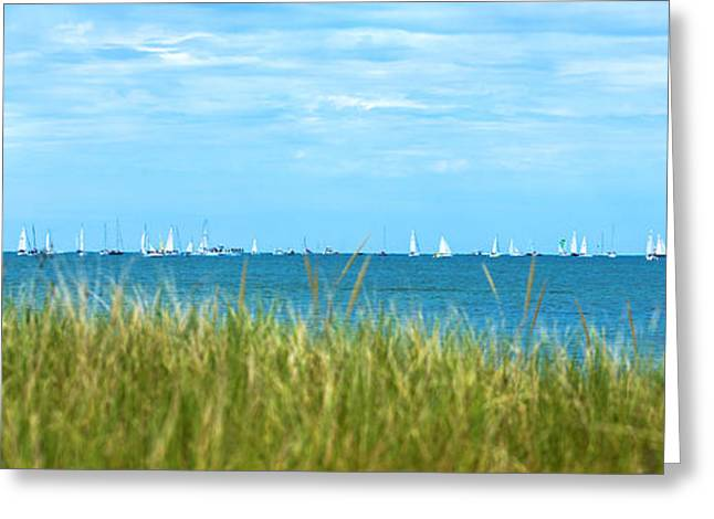 New England Ocean Greeting Cards - Figawi Sailboat Race Greeting Card by Diane Diederich
