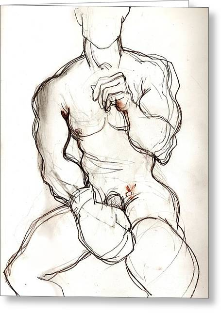 Homoerotic Mixed Media Greeting Cards - Fight Boy Getting Ready Greeting Card by Carolyn Weltman