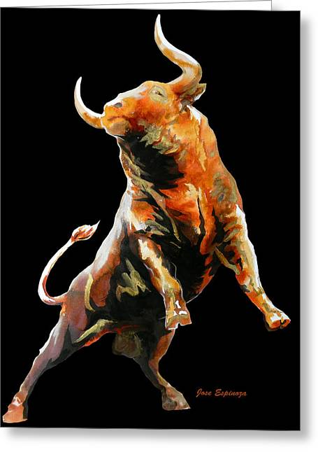 Unique Art Drawings Greeting Cards - Fight Bull 2 Greeting Card by Jose Espinoza