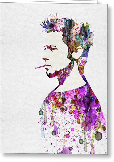 Famous Actor Greeting Cards - Fight Club Watercolor Greeting Card by Naxart Studio