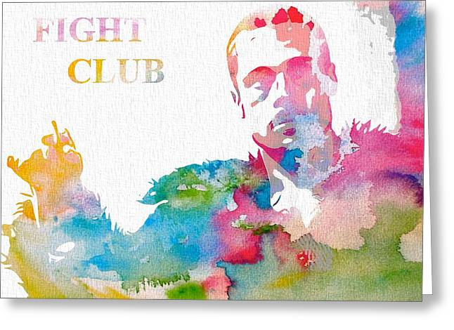 Classic Hollywood Mixed Media Greeting Cards - Fight Club Watercolor Poster Greeting Card by Dan Sproul