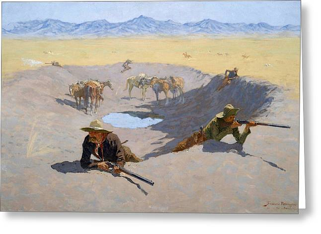 Remington Greeting Cards - Fight for the Waterhole Greeting Card by Frederic Remington