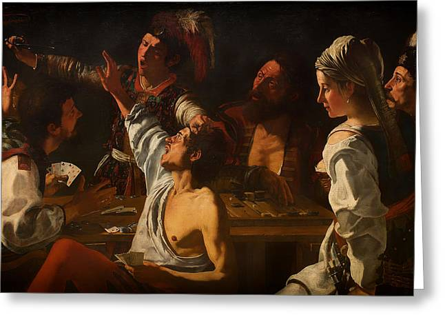 Game Over Greeting Cards - Fight over Cards Greeting Card by Theodoor Rombouts