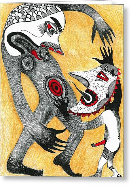 Grapple Greeting Cards - Fight Greeting Card by Sabina Nedelcheva-Williams