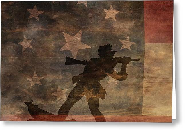 Confederate Flag Greeting Cards - Fight to the Death Silhouette Three of Three Greeting Card by Randy Steele