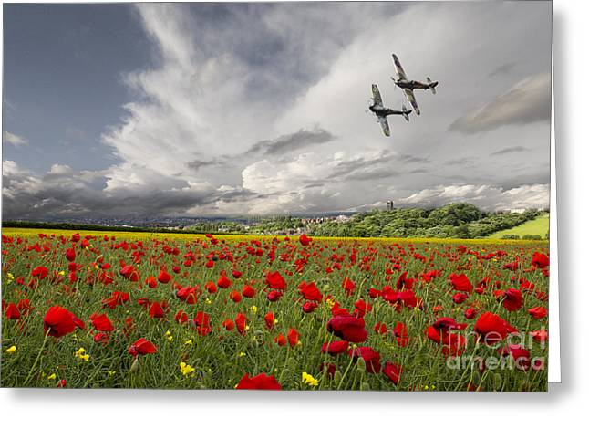 Spitfire Greeting Cards - Fighter Pass Greeting Card by J Biggadike
