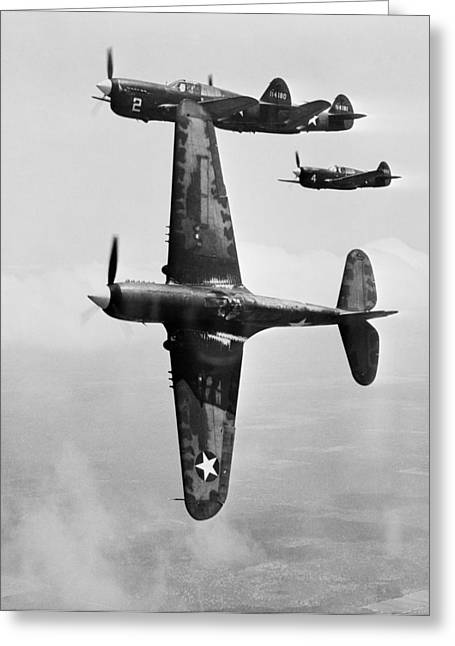 Warhawk P40 1943 Greeting Cards - Fighter pilot training, 1943 Greeting Card by Science Photo Library