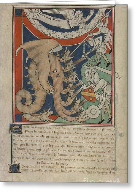 Dragon Concept Greeting Cards - Fighting A Multi-headed Dragon Greeting Card by British Library
