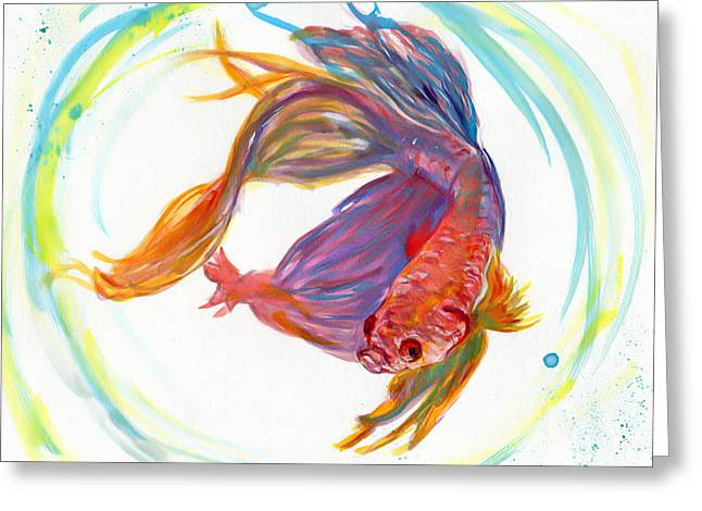 Bully Greeting Cards - Fighting Fish Greeting Card by Raquel Ventura