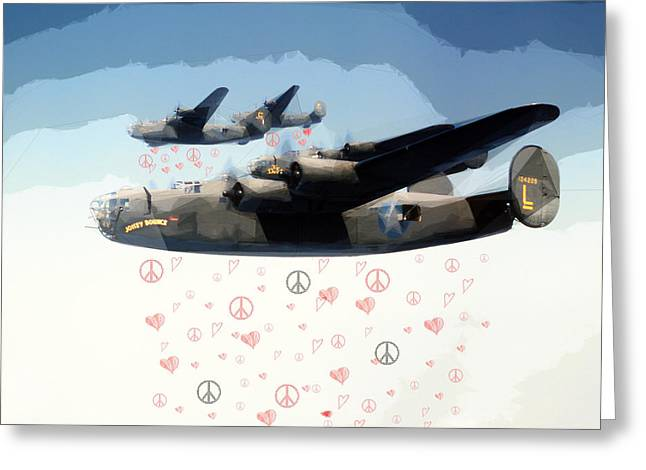 """peace And Love"" Greeting Cards - Fighting for Peace and Love Greeting Card by Celestial Images"