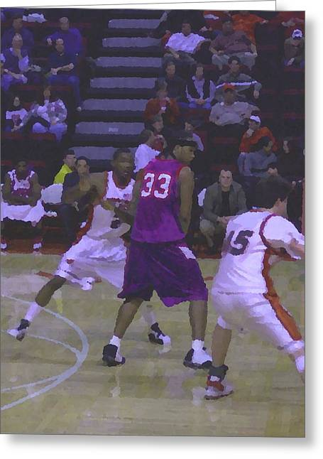 Basketball Portraits Mixed Media Greeting Cards - Fighting for Position Greeting Card by Pharris Art