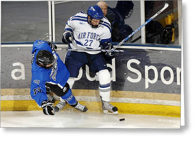 Hockey Net Greeting Cards - Fighting for the Puck Greeting Card by Mountain Dreams