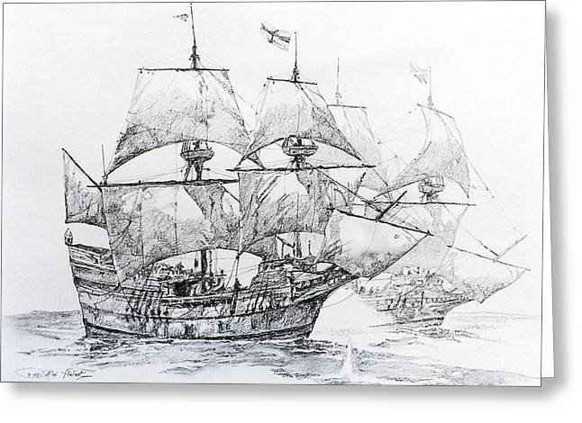 Galleons Drawings Greeting Cards - Fighting Galleons Greeting Card by Rex Stewart