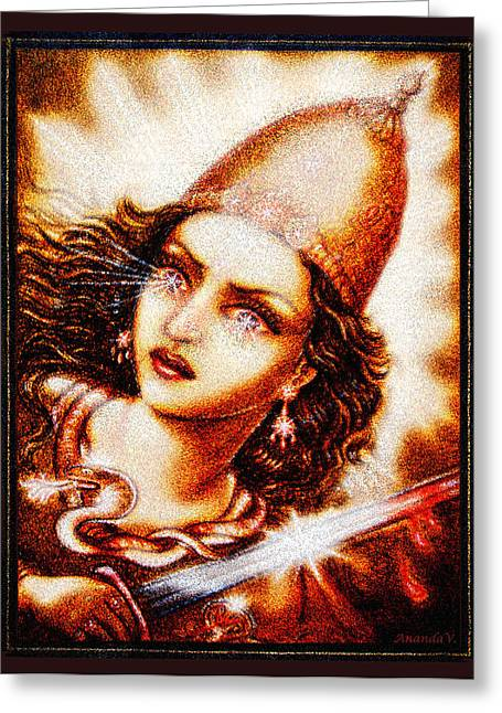 Featured Art Greeting Cards - Fighting Goddess 2 Greeting Card by Ananda Vdovic