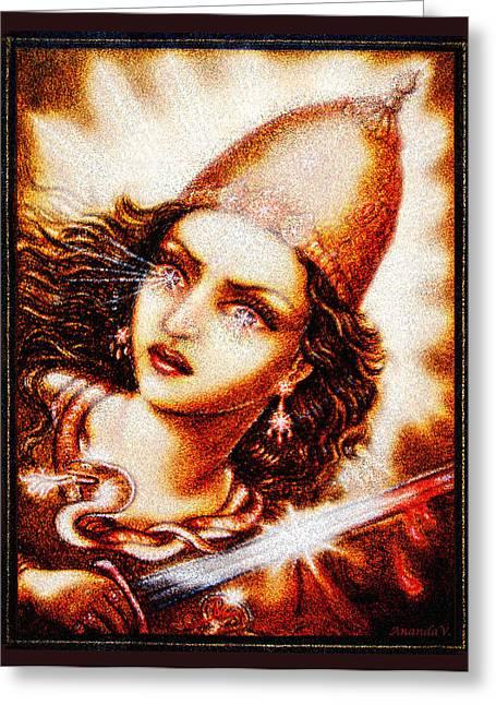 Warrior Goddess Mixed Media Greeting Cards - Fighting Goddess 2 Greeting Card by Ananda Vdovic