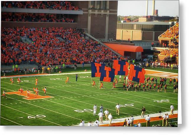 Cheerleader   Greeting Cards - Fighting Illini  Greeting Card by Mountain Dreams