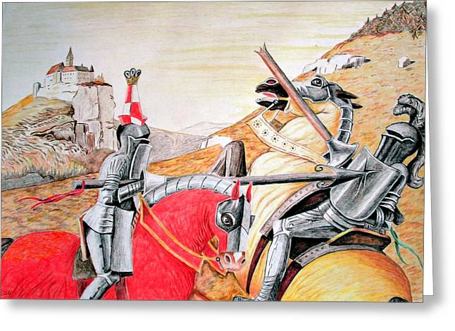 Camelot Drawings Greeting Cards - Fighting Knights Greeting Card by Judith Groeger