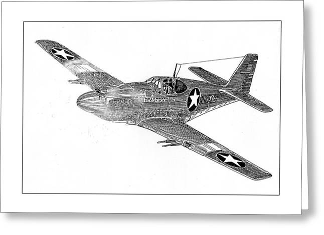 Ww Ii Drawings Greeting Cards - Fighting P 51 Greeting Card by Jack Pumphrey