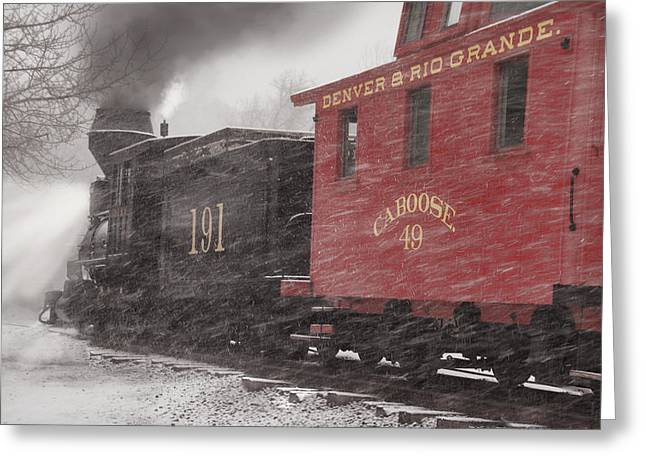 Narrow Gauge Steam Train Greeting Cards - Fighting through the Winter Storm Greeting Card by Ken Smith