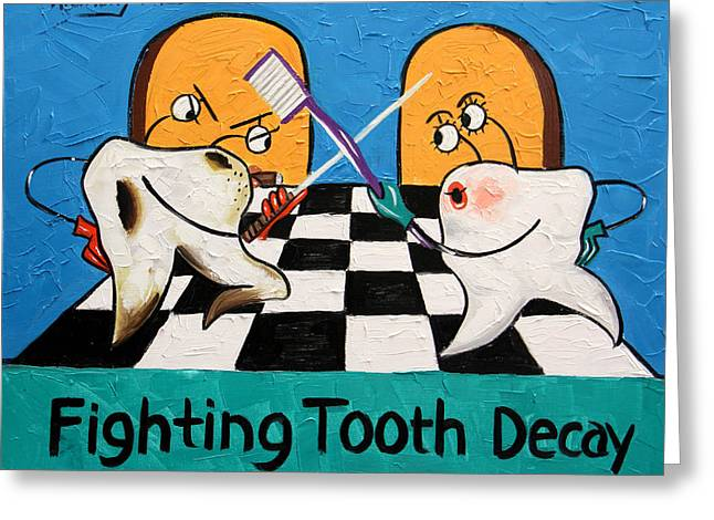 Fighting Greeting Cards - Fighting Tooth Decay Greeting Card by Anthony Falbo