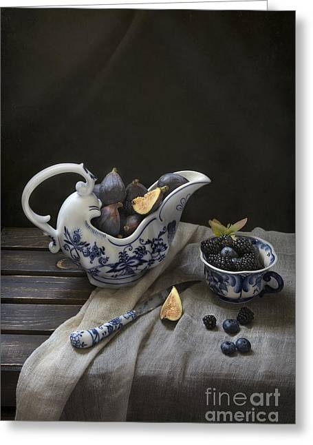 Tabletop Greeting Cards - Figs And Berries Greeting Card by Elena Nosyreva